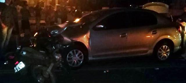 Roncador: Acidente de trânsito envolvendo motocicleta e carro na Avenida São Pedro
