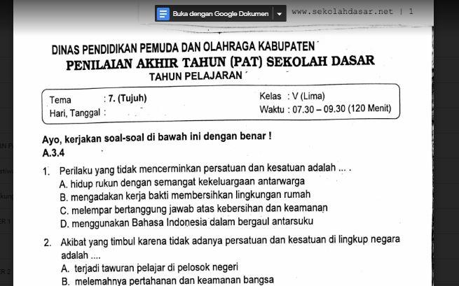 Soal Ulangan Kelas 5 Tema 7 Kurikulum 2013