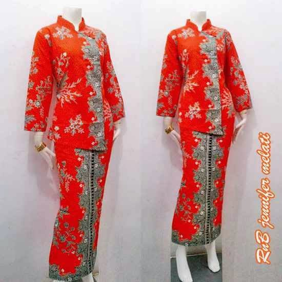 Baju Seragam Batik Kerja Setelan Rok Blus Warna Oren