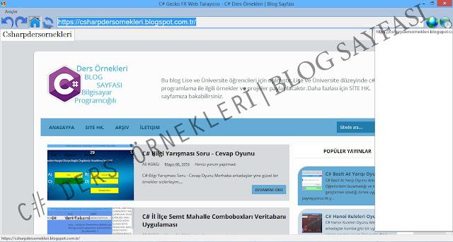C# Gecko FX Web Browser Tarayıcısı Kodları