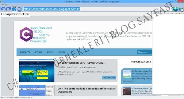 C# Geckofx Firefox Web Browser Tarayıcı Kodları