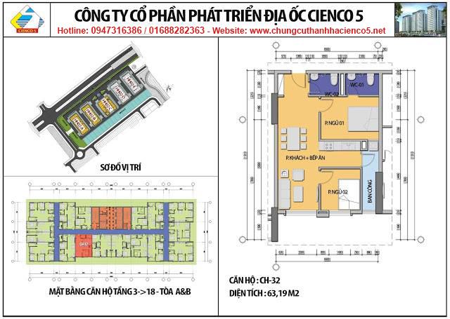 Sơ đồ thiết kế căn 32 chung cư B2.1 HH02A&B Thanh Hà Cienco 5