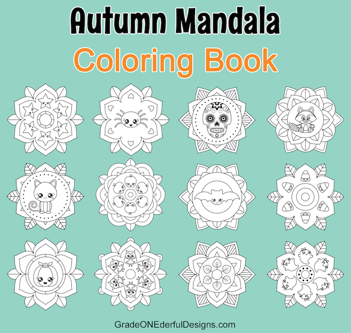 Autumn Mandala colouring book for young children