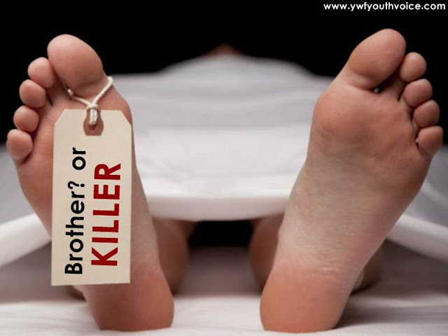 Dead body asking his brother if he is his killer?