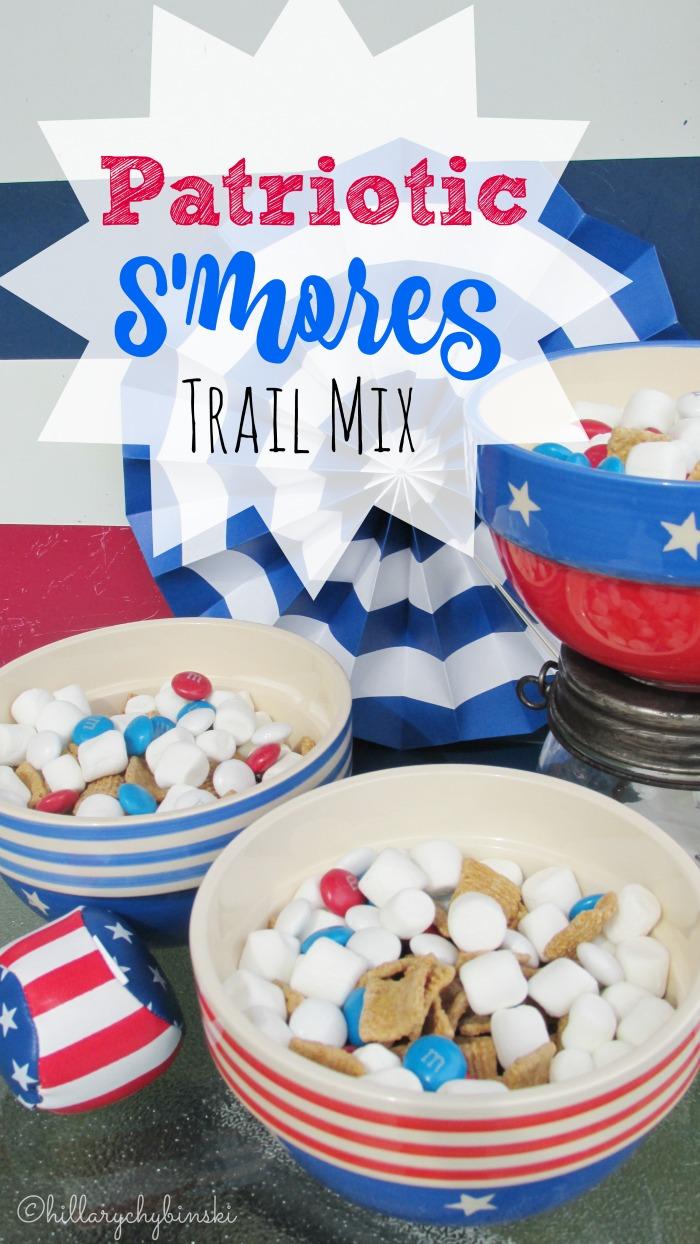 Easy, no-mess recipe idea for patriotic s'mores trail mix