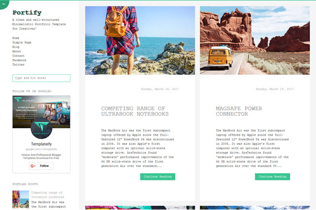 Portify - Responsive Blogger Template