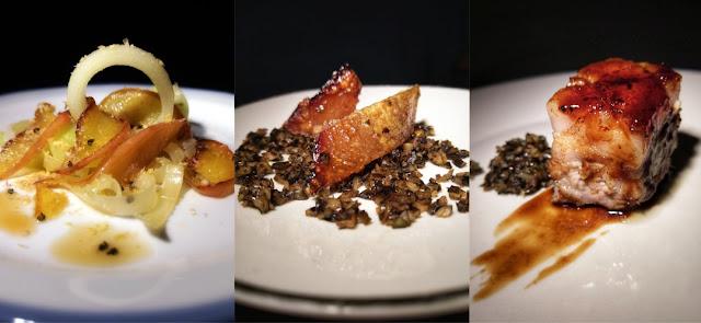 Apfel-Lauch-Gemüse mit Silvaner-Apfelsaft-Sirup, Wollschwein-Schwarte auf Kürbiskern-Mokka-Crumble und Schweinebauch überglänzt mit Pflaumenlack.