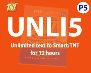 TNT UNLI 5 – Unlimited texts to Smart/Talk N Text for Only 5 Pesos