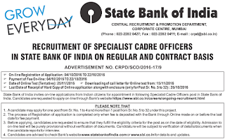 Specialist Cadre Officers Recruitment By SBI,  October, 2016