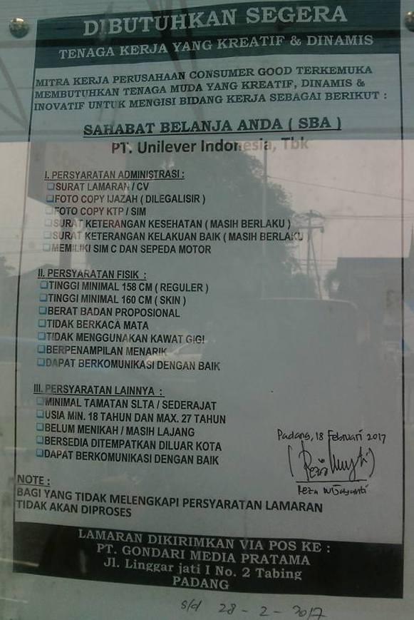 Lowongan Kerja di Sumbar -PT.Unilever Indonesia,Tbk – Karyawan (Closed 28-2-2017)