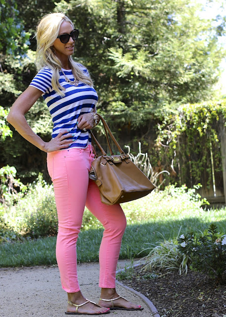 colored denim striped tee