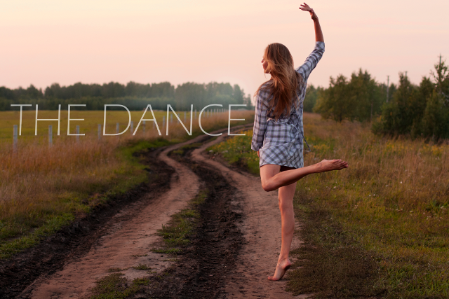 Young Woman Dancing In A Field With The Words The Dance Written On It