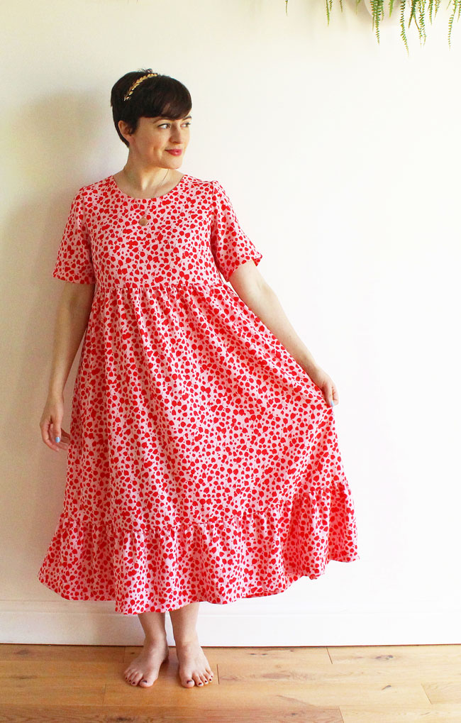 Midi length pink and red Indigo smock dress