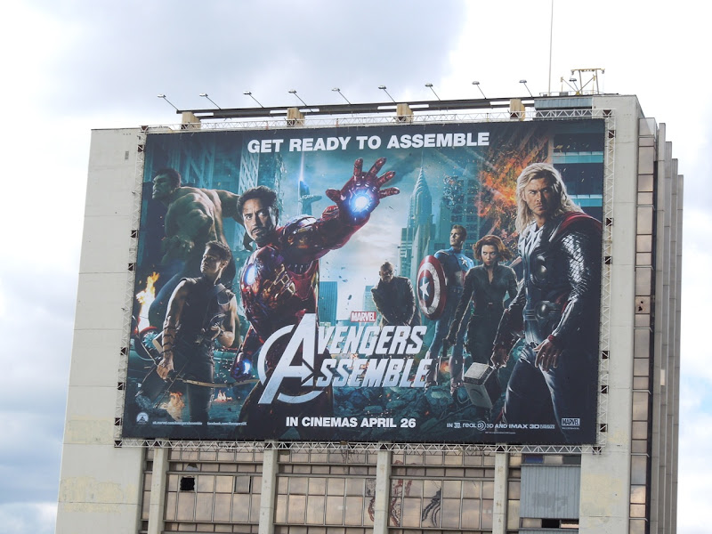 Giant Avengers Assemble movie billboard London