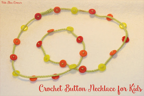 crochet button necklace for kids