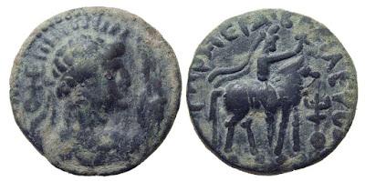 Moneda antigua del Imperio Kushan Siglo I dC