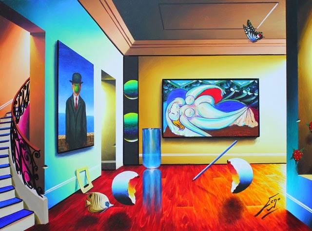 """Picasso """"Nu Reclinado"""" com Magritte - Ferjo e suas pinturas ~ O artista da pintura dentro de outra"""