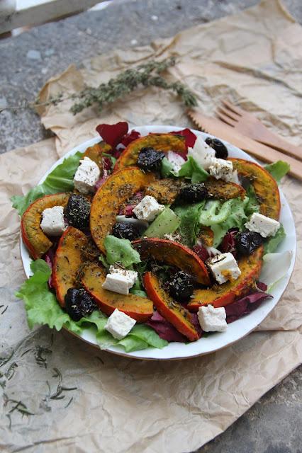 Cuillère et saladier : Salade de courge rôtie aux parfums du Sud