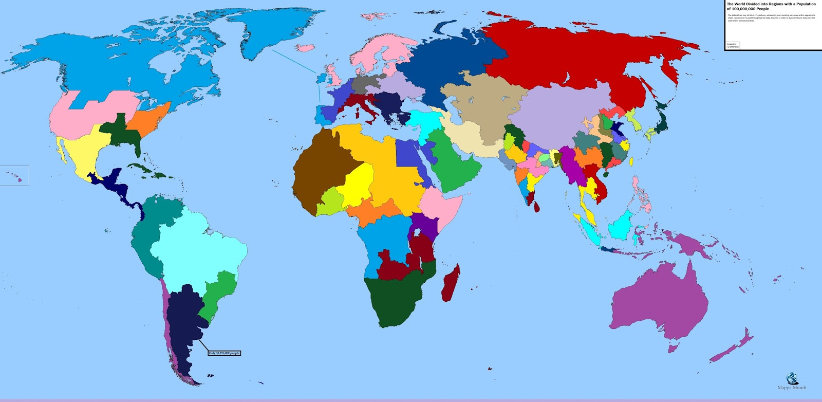 World divided into regions with a population of 100,000,000 people