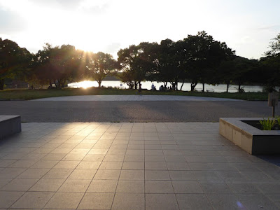 夕日と山田池