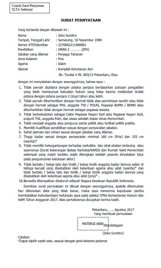contoh format surat lamaran dan surat pernyataan s1 d3