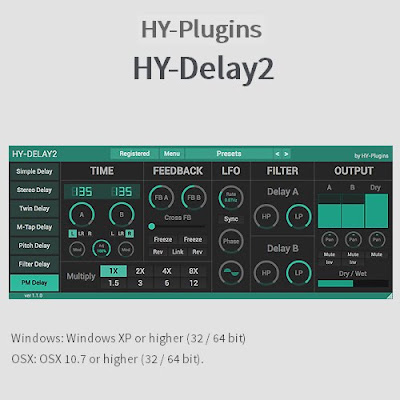 HY-Plugins HY-Delay2 FE v1.2.0 x32 x64 VST AU WIN MAC Free