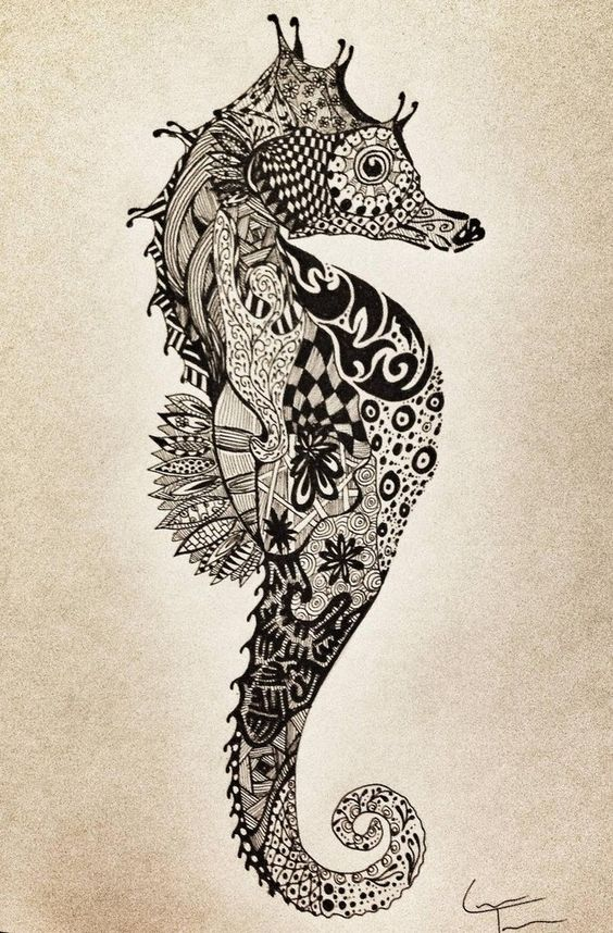15 Unique Seahorse Tattoo Designs