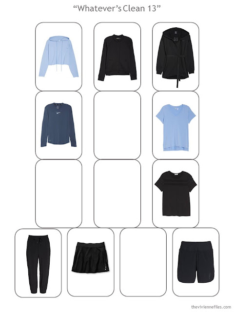 Step 3 of a Whatever's Clean 13 sports wardrobe in black, blue and white