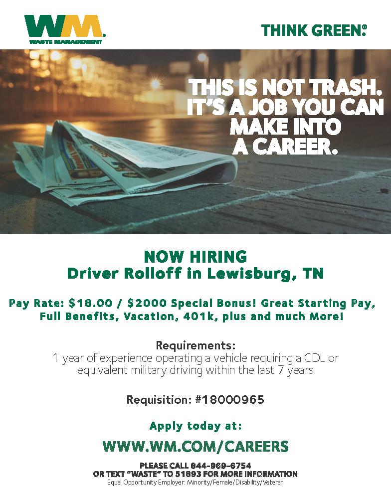Marshall Job Hub: Driver Rolloff at Waste Management