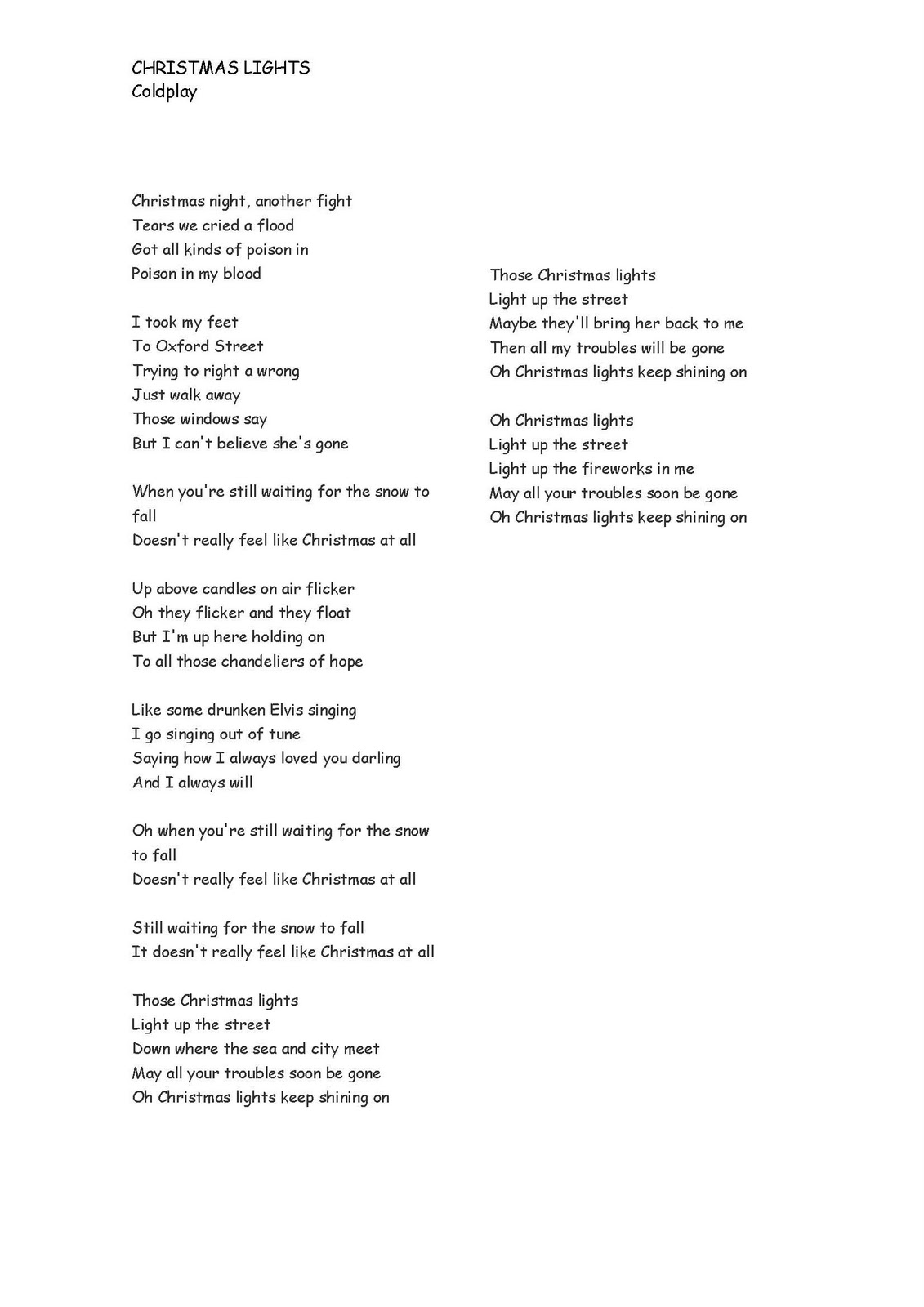 Christmas Light Coldplay Lyrics 7 Pin Flat Trailer Connector Wiring Diagram Lights