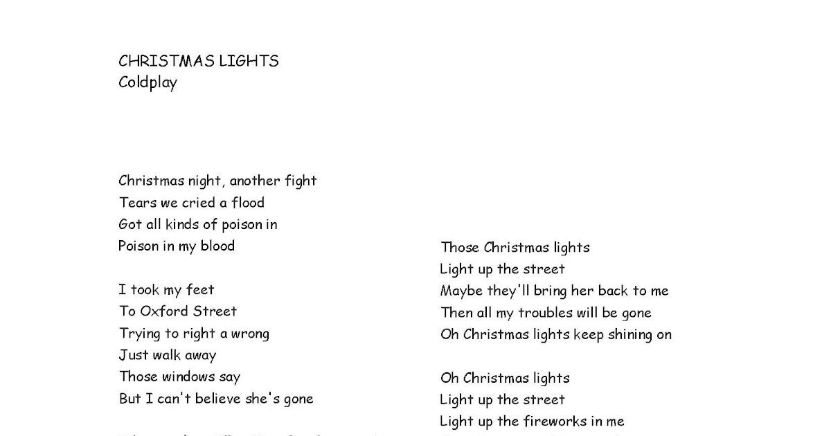 christmas lights coldplay chords # 32