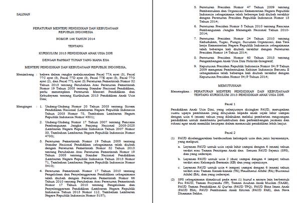 Permendikbud RI Nomor 146 Tahun 2014 Tentang Kurikulum 2013 Pendidikan Anak Usia Dini