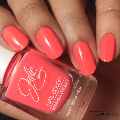 nail polish swatch of Bikini, a salmon pink creme polish by JulieG