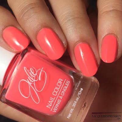 nail polish swatch of Bikini, a salmon pink creme polish by JulieG