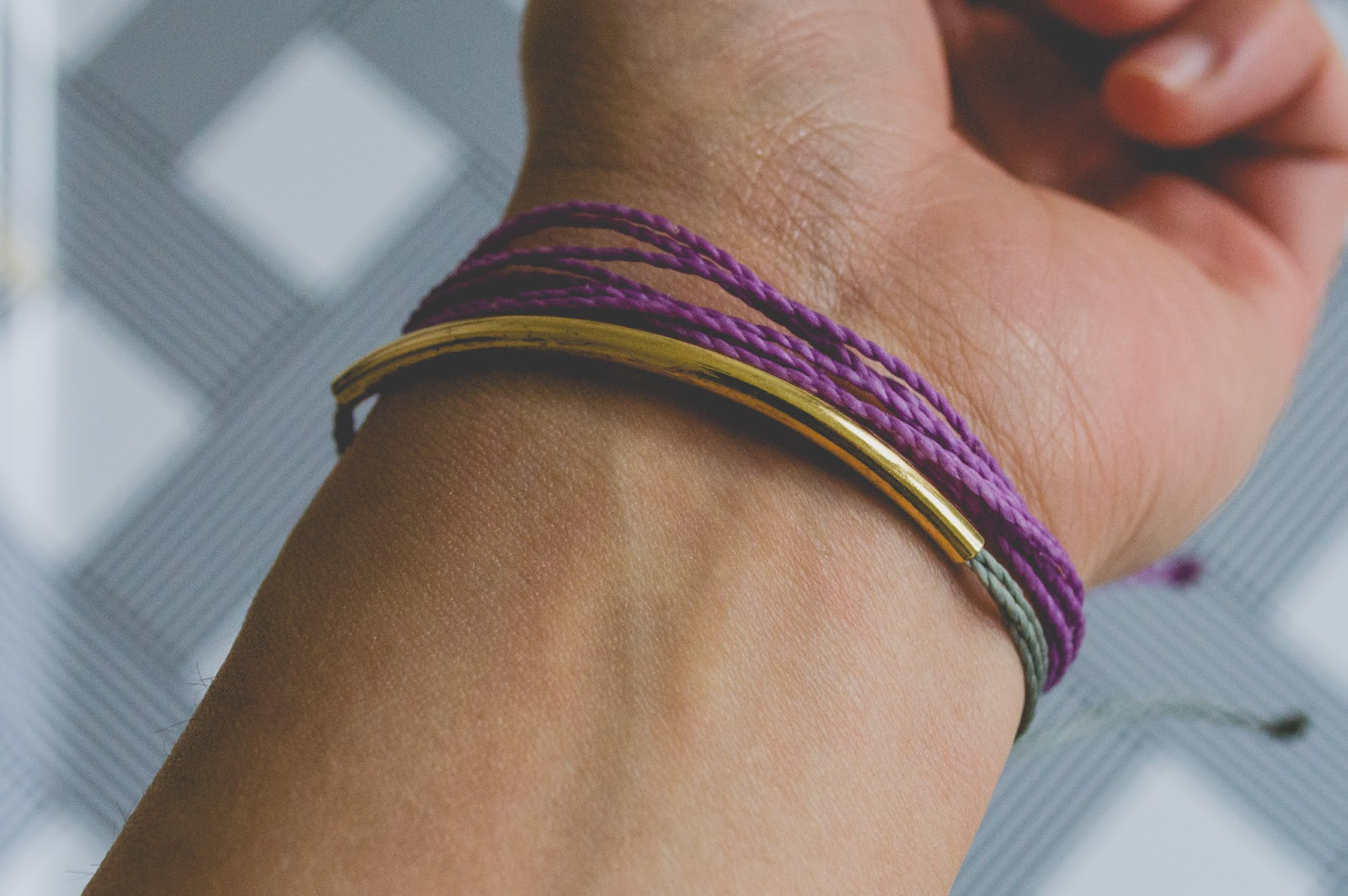 Pura Vida Bracelets Conscious Commerce Grey Purple Gold Bar Birchbox