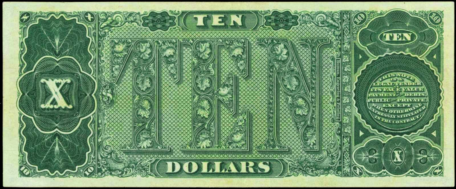 US Paper Money 10 Dollars Treasury Note 1890