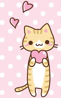 Imágenes Kawaii Tiernas Hermosas Amor gatos gatitos animales corazones Fondos