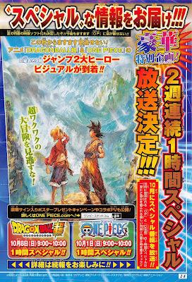 Dragon Ball Super - Imagem de divulgação dos Especiais de Dragon Ball Super e One Piece