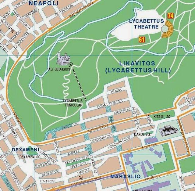 mapa del monte Licabeto en atenas