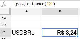 com a fórmula googlefinance, a planilha do google converteu dólar em reais