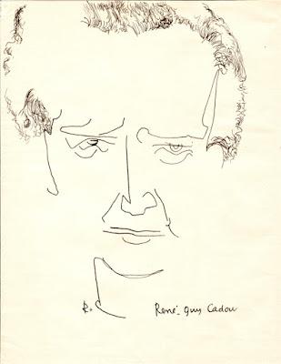 Portrait de René Guy Cadou, dessin de Robert Morel (Médiathèque Louis-Joseph de Château-Arnoux)