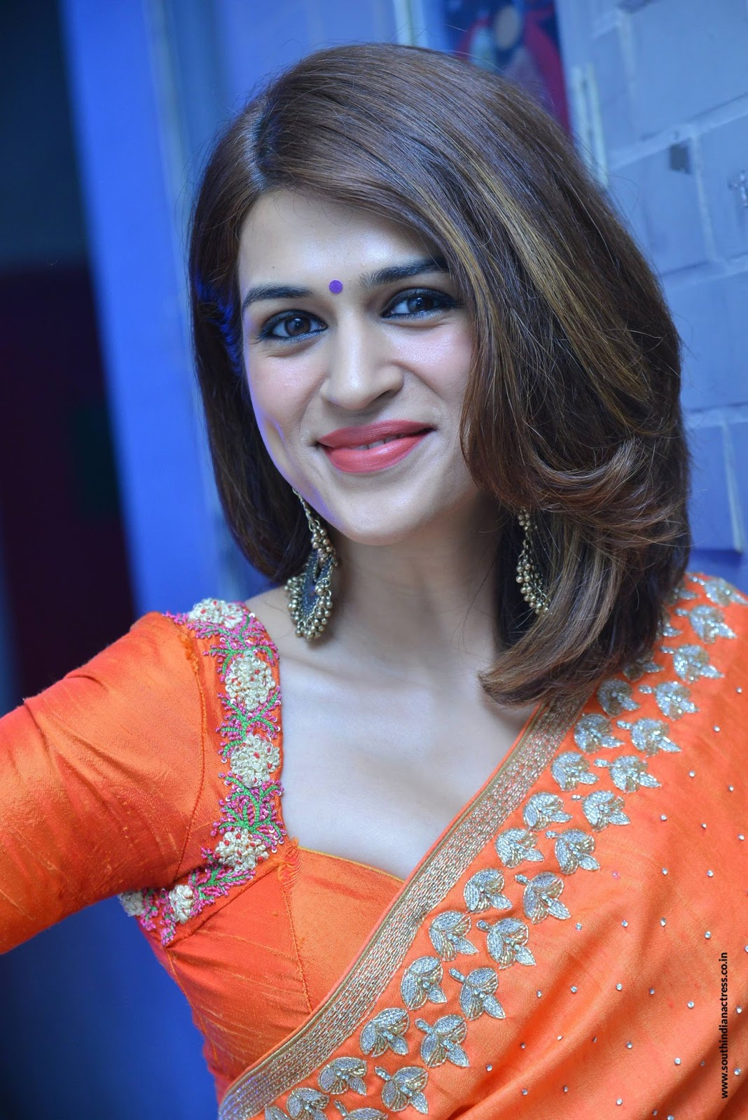 Shraddha Das in beautiful Orange Saree