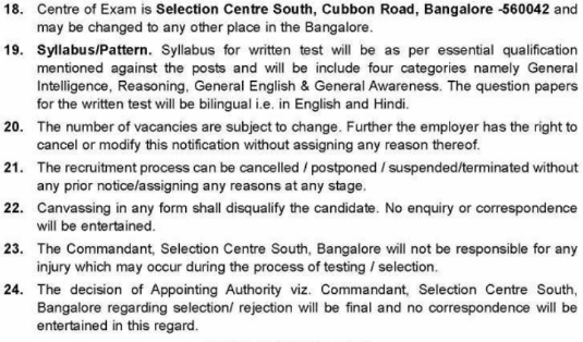 Selection Centre South Bangalore Recruitment