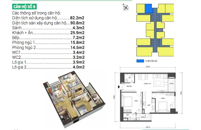 Thiết kế căn hộ 08 chung cư Housinco Grand Tower