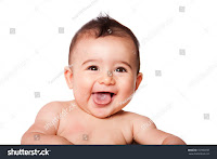 Cute child crying with joy