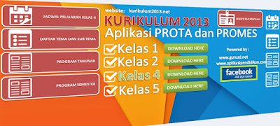Aplikasi Prota dan Promes Kelas 4 SD Kurikulum 2013 Berbasis Excel