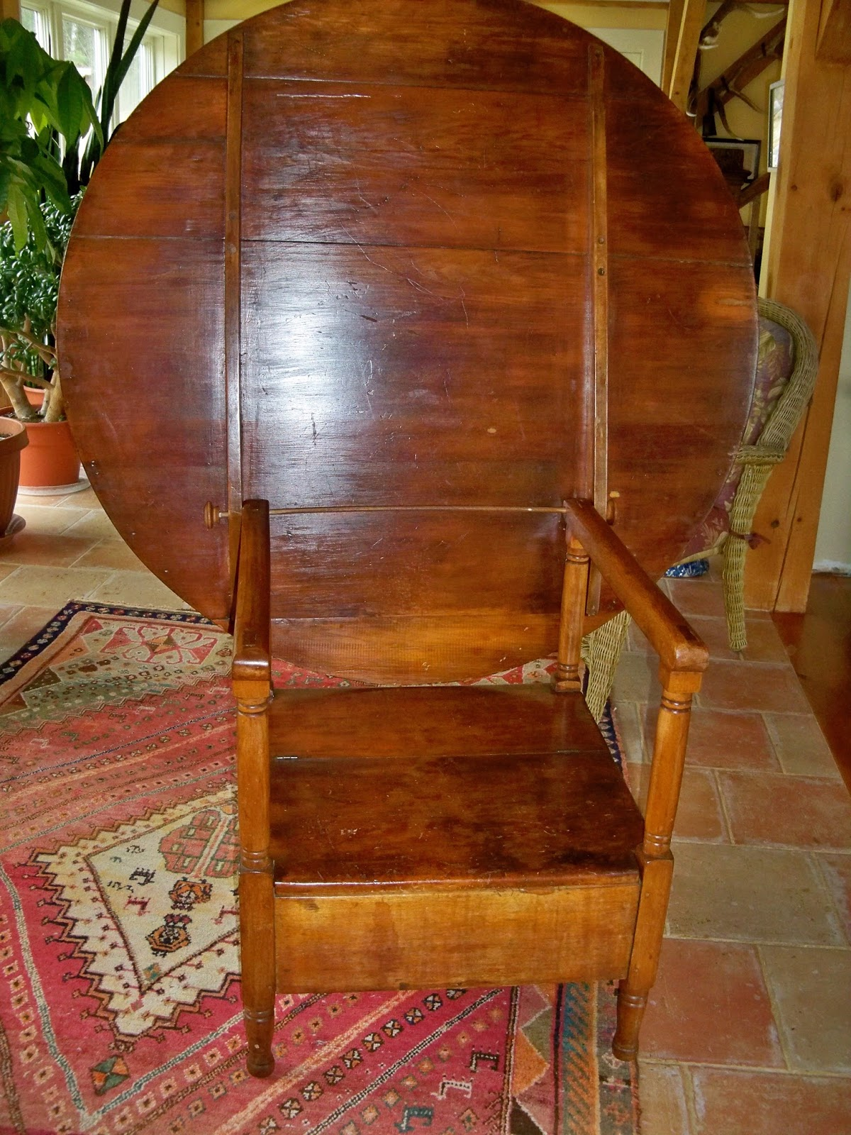 circular hutch table for sale antique with compartment - ANTIQUE PINE CHAIR TABLE - FOR SALE Goshen Antiques And Art
