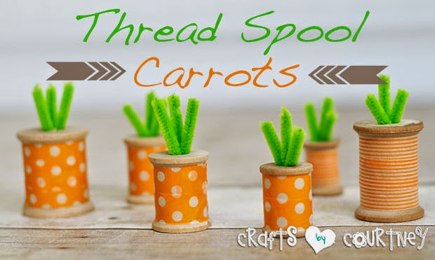 Thread spool inspired carrots.