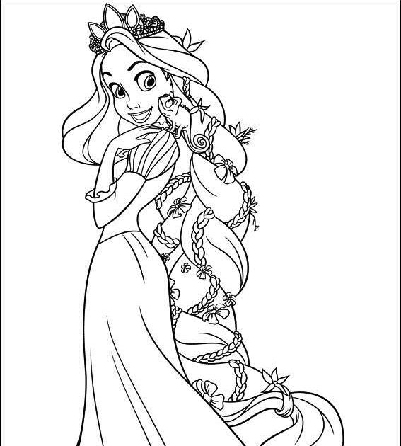 Dibujos Para Colorear De Enredados Rapunzel Con Su Trenza
