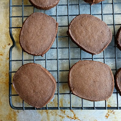 chocolate mocha shortbread cookies cooling on wire rack